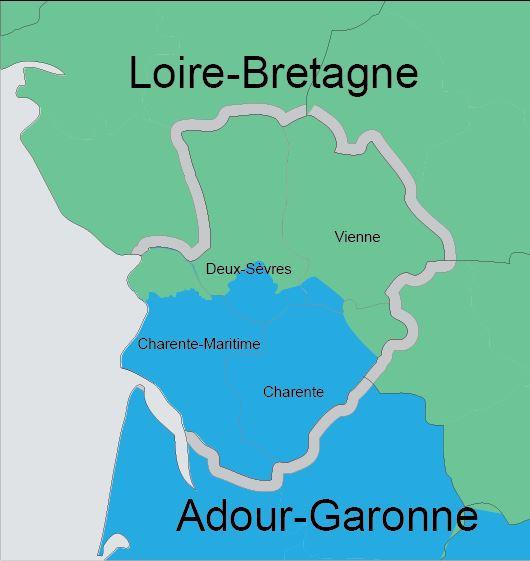 La Vienne est à la limite entre deux agences de bassins : la loire-bretagne et l'ardour-garonne