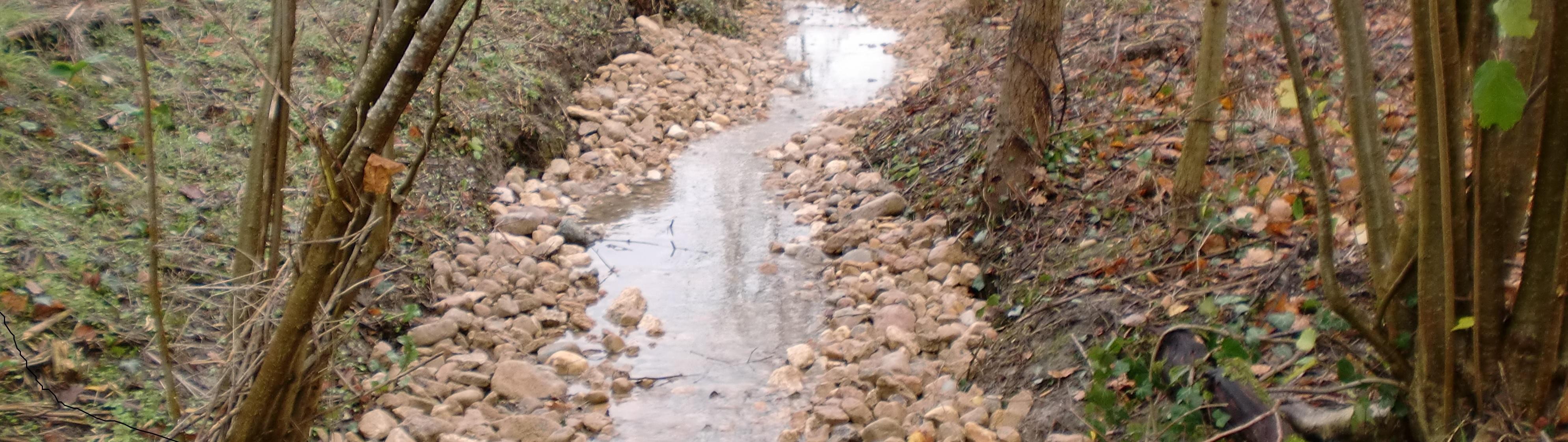 travaux hydraumorphique de la Lière, une des sources de la Pallu